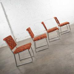 4 streamline railroad dining car chairs in stainless steel orange upholstery - 1765286