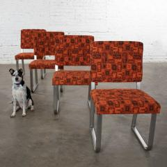 4 streamline railroad dining car chairs in stainless steel orange upholstery - 1765288