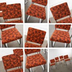 4 streamline railroad dining car chairs in stainless steel orange upholstery - 1765289