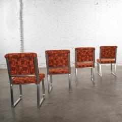 4 streamline railroad dining car chairs in stainless steel orange upholstery - 1765301