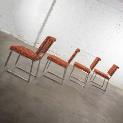 4 streamline railroad dining car chairs in stainless steel orange upholstery - 1765304