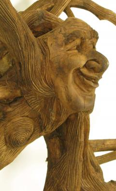 Extraordinary 78 Tall Outsider Art Carved Root Sculpture with Center Visage - 13837