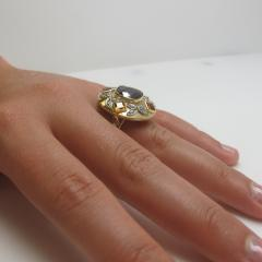 5 23 Carat Spinel Citrine and Diamond 18k Yellow and Rose Gold Ring - 1099375