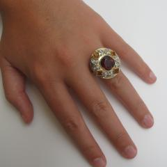 5 23 Carat Spinel Citrine and Diamond 18k Yellow and Rose Gold Ring - 1099526