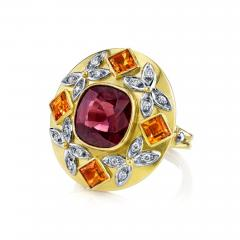 5 23 Carat Spinel Citrine and Diamond 18k Yellow and Rose Gold Ring - 1103245