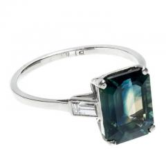 5 37 Carat Green Sapphire Diamond Three Stone Engagement Platinum Ring - 391193