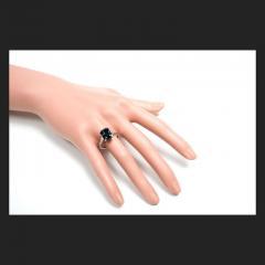 5 37 Carat Green Sapphire Diamond Three Stone Engagement Platinum Ring - 391205