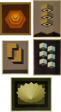 5 Watercolors Adrian Murphy Telespective Related Forms Mandala Rising 1970  - 2094616