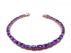6 5 CT Tanzanite Tennis Sterling Silver Bracelet - 1904510
