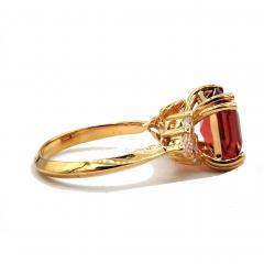 6CT Asscher Cut Padparadscha Pink Tourmaline Diamond Ring in 18 KT Yellow Gold - 1904504