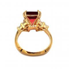 6CT Asscher Cut Padparadscha Pink Tourmaline Diamond Ring in 18 KT Yellow Gold - 1904507