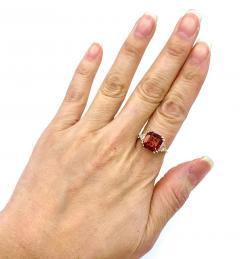 6CT Asscher Cut Padparadscha Pink Tourmaline Diamond Ring in 18 KT Yellow Gold - 1904508
