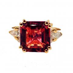 6CT Asscher Cut Padparadscha Pink Tourmaline Diamond Ring in 18 KT Yellow Gold - 1904512