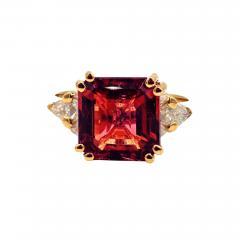 6CT Asscher Cut Padparadscha Pink Tourmaline Diamond Ring in 18 KT Yellow Gold - 1904948