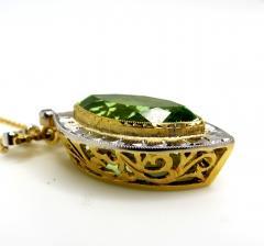 7 48 Carat Peridot and Diamond 18 Karat Yellow and White Gold Necklace - 1101845