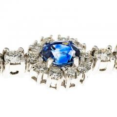 7 90 Carat GIA Certified Blue Sapphire Diamond Halo Gold Bracelet - 396177