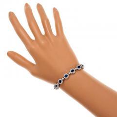 7 90 Carat GIA Certified Blue Sapphire Diamond Halo Gold Bracelet - 396179