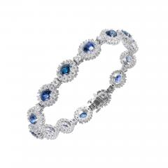 7 90 Carat GIA Certified Blue Sapphire Diamond Halo Gold Bracelet - 401422