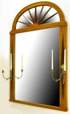 Grosfeld House Sunburst Top Mirror With Integral Brass Sconces c 1950s - 13851