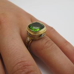 8 15 Carat Peridot and Diamond 18 Karat Yellow Gold Ring - 1099769