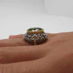 8 85 Carats Oval Peridot and Diamond 18k Yellow and White Gold Ring - 1416613