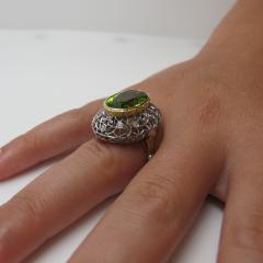 8 85 Carats Oval Peridot and Diamond 18k Yellow and White Gold Ring - 1416614