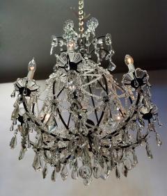 8 Light Beaded Crystal Balloon Chandelier Circa 1900 Italy - 1687517