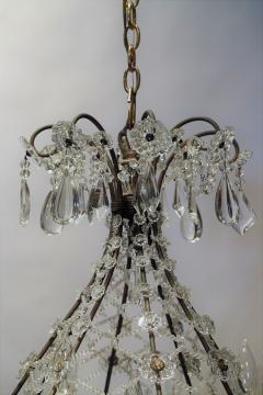 8 Light Beaded Crystal Balloon Chandelier Circa 1900 Italy - 1687518