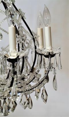 8 Light Beaded Crystal Balloon Chandelier Circa 1900 Italy - 1687521