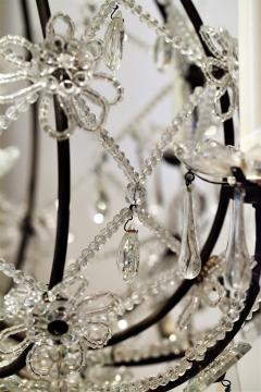 8 Light Beaded Crystal Balloon Chandelier Circa 1900 Italy - 1687522