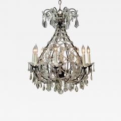 8 Light Beaded Crystal Balloon Chandelier Circa 1900 Italy - 1688921