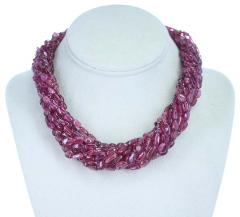 820 Carat Genuine and Natural Plain and Smooth Tourmaline Tumbled Beads Necklace - 1844496