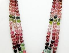 8mm Natural Triple strands Multi Color Watermelon Tourmaline Necklace 14KT Gold - 1674077