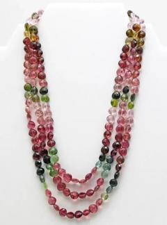 8mm Natural Triple strands Multi Color Watermelon Tourmaline Necklace 14KT Gold - 1674079