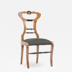 A 19th Century Biedermeier chair upholstered with black striped silk fabric - 1647970
