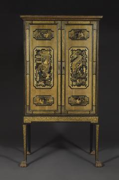 A Black Lacquer Polychrome And Two Color Gilt Cabinet On Original Stand - 1376017