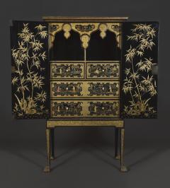 A Black Lacquer Polychrome And Two Color Gilt Cabinet On Original Stand - 1376018