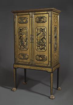 A Black Lacquer Polychrome And Two Color Gilt Cabinet On Original Stand - 1376019