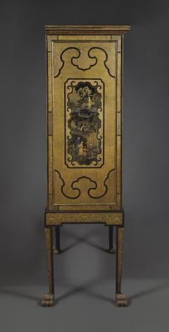 A Black Lacquer Polychrome And Two Color Gilt Cabinet On Original Stand - 1376020