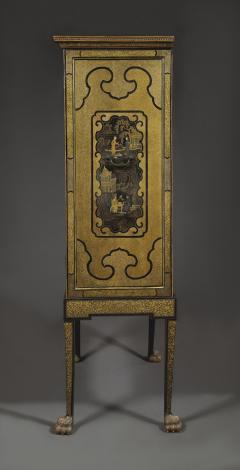 A Black Lacquer Polychrome And Two Color Gilt Cabinet On Original Stand - 1376021