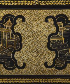 A Black Lacquer Polychrome And Two Color Gilt Cabinet On Original Stand - 1376022