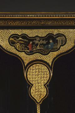 A Black Lacquer Polychrome And Two Color Gilt Cabinet On Original Stand - 1376023