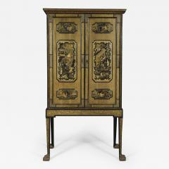 A Black Lacquer Polychrome And Two Color Gilt Cabinet On Original Stand - 1379719