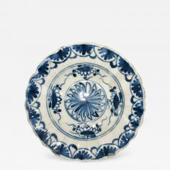 A Blue and White Delft Charger with Floral Splays and Scalloped Edge - 307989