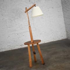 A Brandt Ranch Oak Furniture Vintage ranch oak adjustable arm floor lamp tri leg base with table by a brandt - 1938925