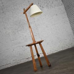 A Brandt Ranch Oak Furniture Vintage ranch oak adjustable arm floor lamp tri leg base with table by a brandt - 1938926