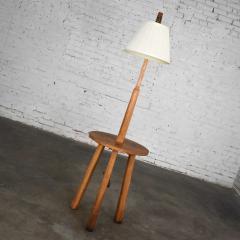 A Brandt Ranch Oak Furniture Vintage ranch oak adjustable arm floor lamp tri leg base with table by a brandt - 1938933