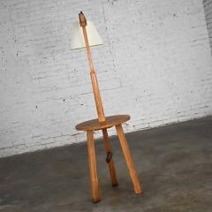 A Brandt Ranch Oak Furniture Vintage ranch oak adjustable arm floor lamp tri leg base with table by a brandt - 1938934