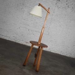 A Brandt Ranch Oak Furniture Vintage ranch oak adjustable arm floor lamp tri leg base with table by a brandt - 1938957