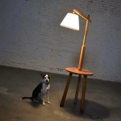 A Brandt Ranch Oak Furniture Vintage ranch oak adjustable arm floor lamp tri leg base with table by a brandt - 1938960
